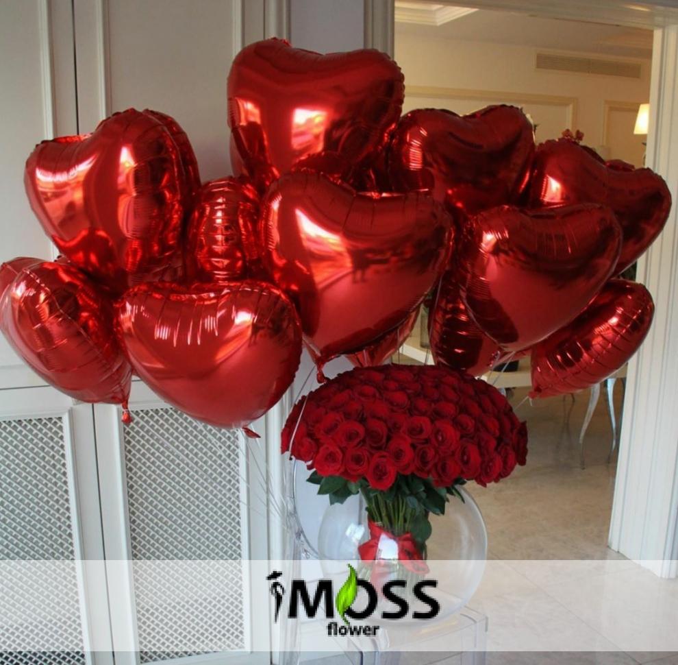 10 adet folyo balon ve 51 adet gül